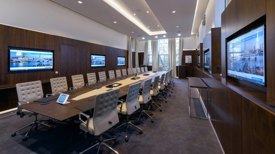Modern Boardroom Design With Led Wooden Work Ceiling Table