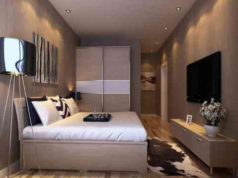 Bedroom Design With Sliding Wardrobe And Lcd Art Wall Id979