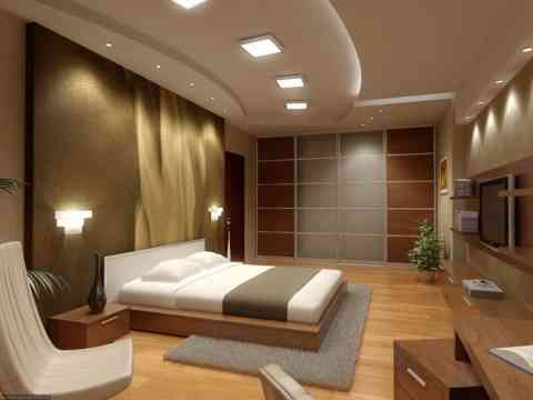 Amazing Bedroom Interior Design With LCD Cabinet And Walk In Closet