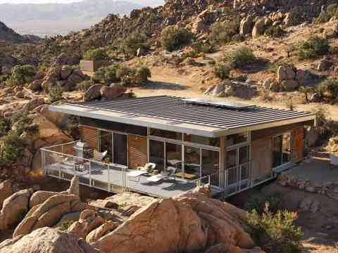 Beautiful Rock House Side View Mojave Desert