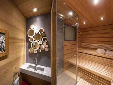 Circle Mirrors Sink And Sauna Design Chalet France