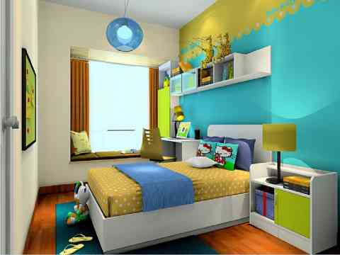 Kids bedroom with attached study room interior design for Study room design ideas blue