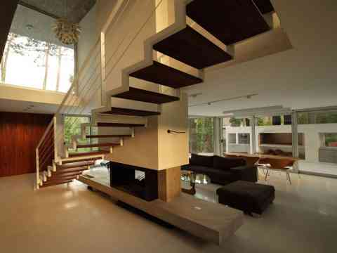Fireplace And Stairs Design Fresno House Argentina