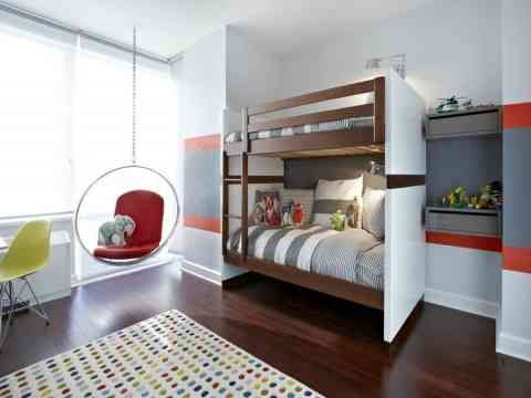 Modern Gray And White Combination Kid Room Design