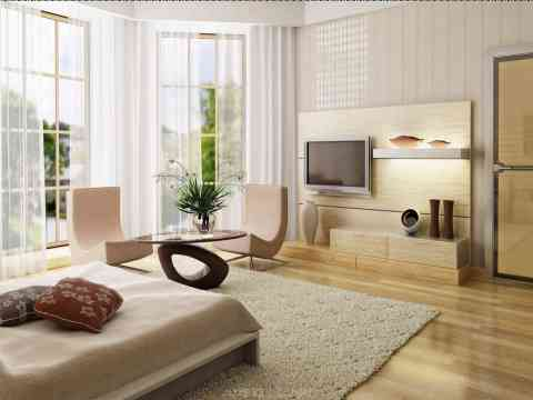 Luxurious Bedroom LCD Cabinet Design And Beautiful Curtain Designs