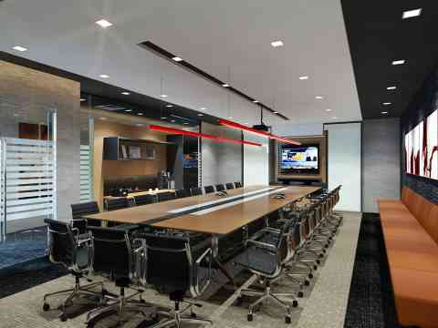 Luxurious Conference Room Design White Elegant Chairs With Armrest - Elegant conference table