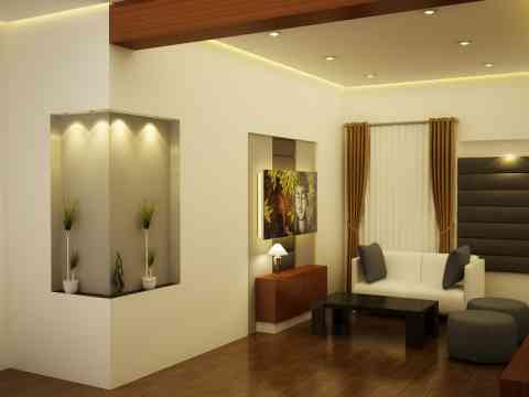 Side Wall Niches And Sofa Set Table Design
