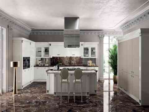 White Italian Kitchen And Marble Floor Design
