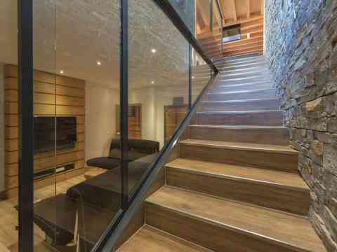 Wood Stairs Chalet France Stone Wall