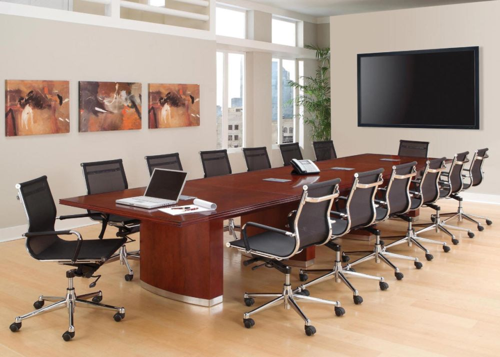Adorable Wall Beautiful Long Wood Conference Table Design