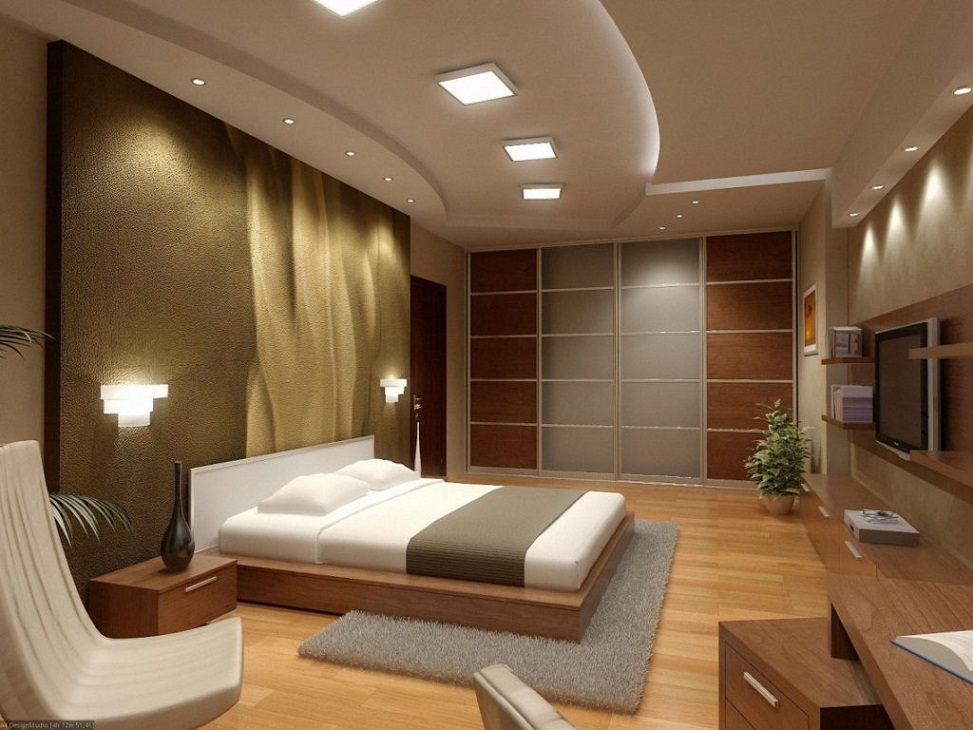 Amazing Bedroom Interior Design With Lcd Cabinet And Walk In Closet ...