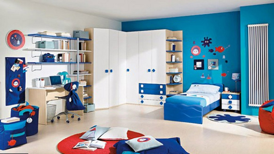 Amazing Corner Wardrobe Boy Room Decoration Blue Theme