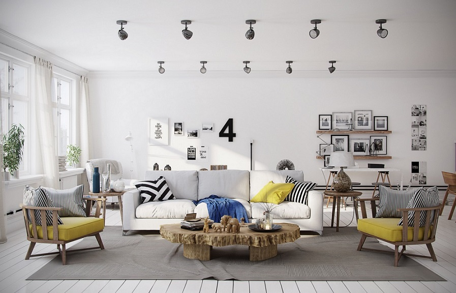 Art Wall Yellow Accents Living Room Id125 Adorable Living Room Design Ideas Living Room Designs Interior Design