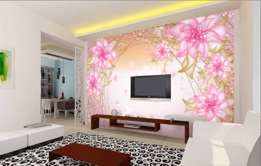 Beautiful LCD Cabinet Pink Wall Sticker Design