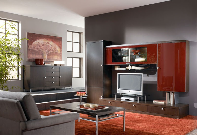 Download Beautiful Living Room LCD Cabinet And Maroon Rug Image