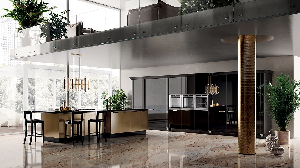 Black Italian Kitchen And Marble Floor Design
