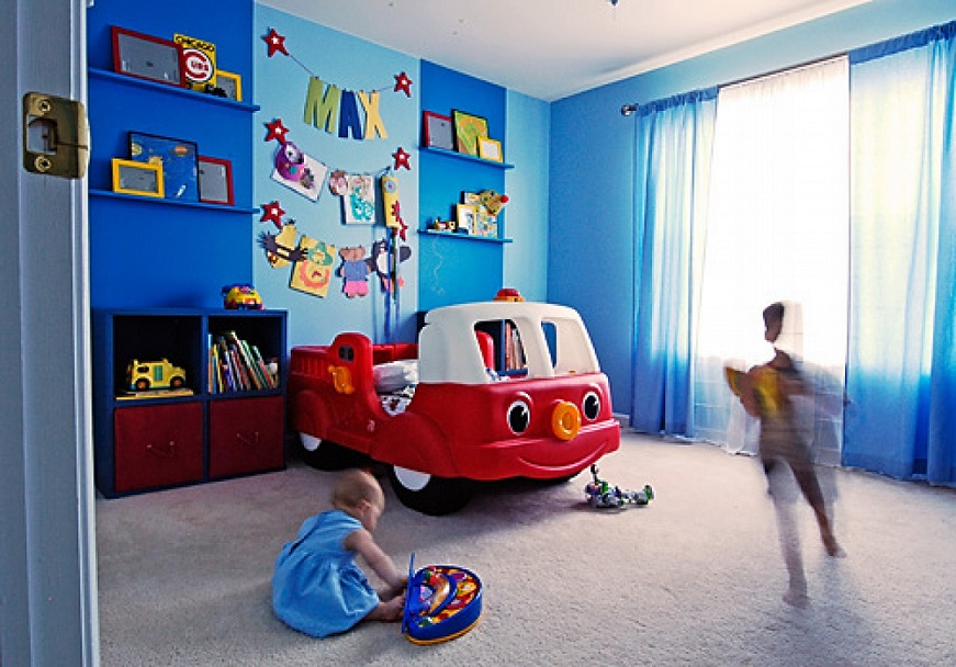 Download Blue Walls Red Car Bed Boy Room Design Image ...