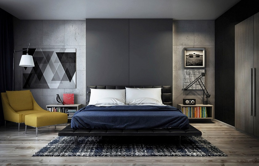 Dark Bedroom With Concrete Wall Id7 - Concrete Wall Design ...
