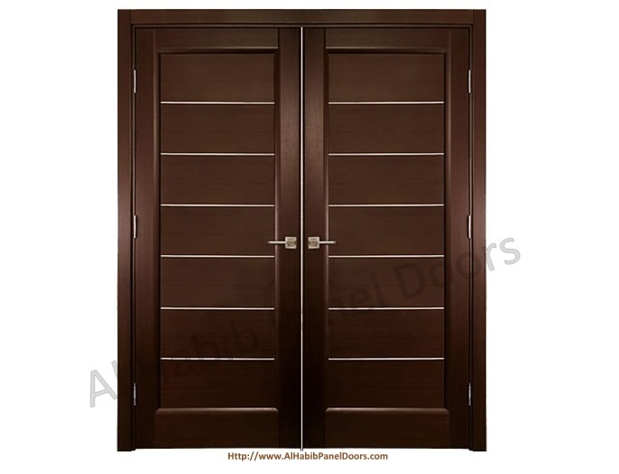 Dark polish main double stripes door pid005 main doors for Residential main door design