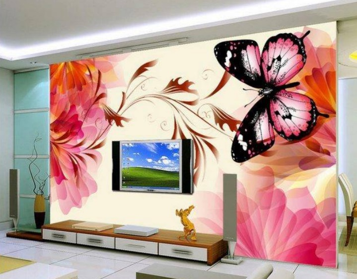 Download Four Drawers Lcd Cabinet And Butterfly Wallpaper Design Image ...