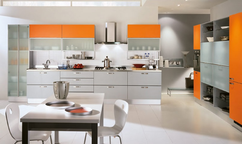 Italian Orange Color Kitchen Cabinet Design