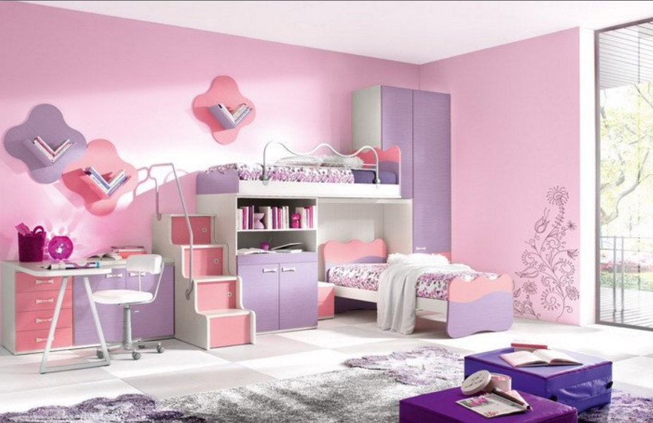 Download Kids Girls Double Beds Room Design Idea Image ...