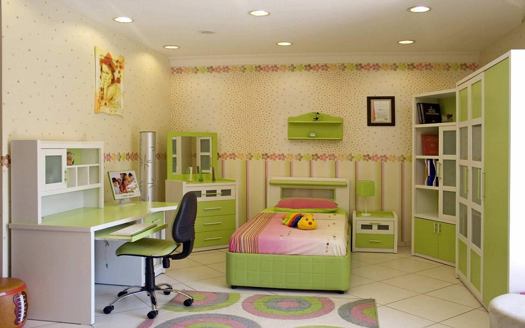Kids Style Room Interior Design Study Table Cabinets
