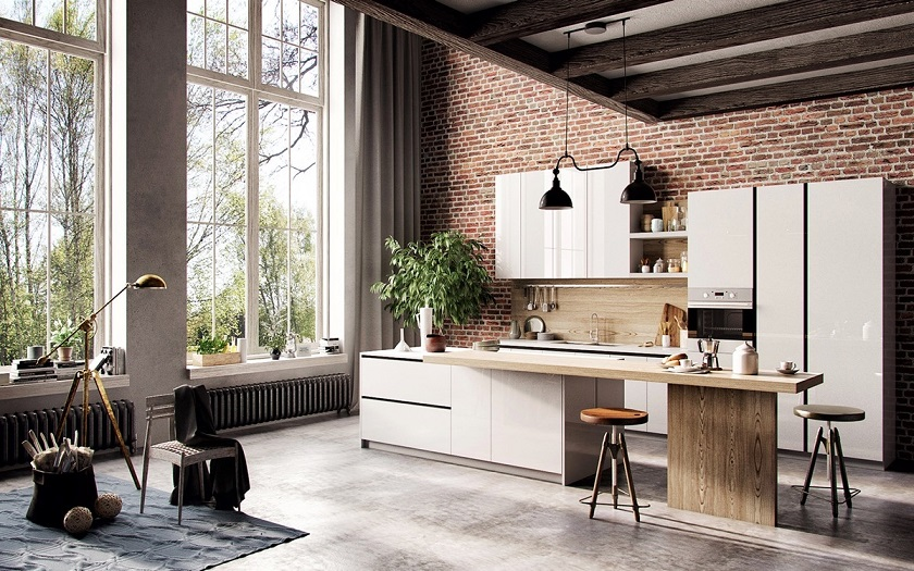 Download Kitchen Bricks Wall And French Window Image ...