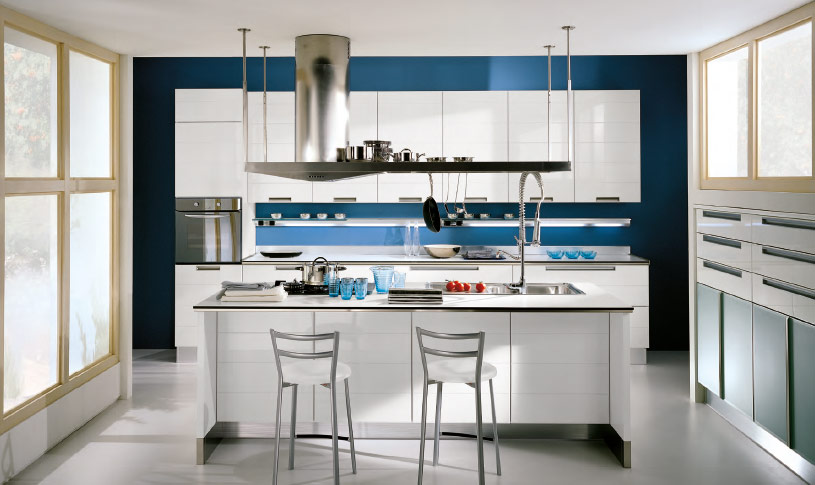 Light Blue Italian Kitchen Cabinet Design