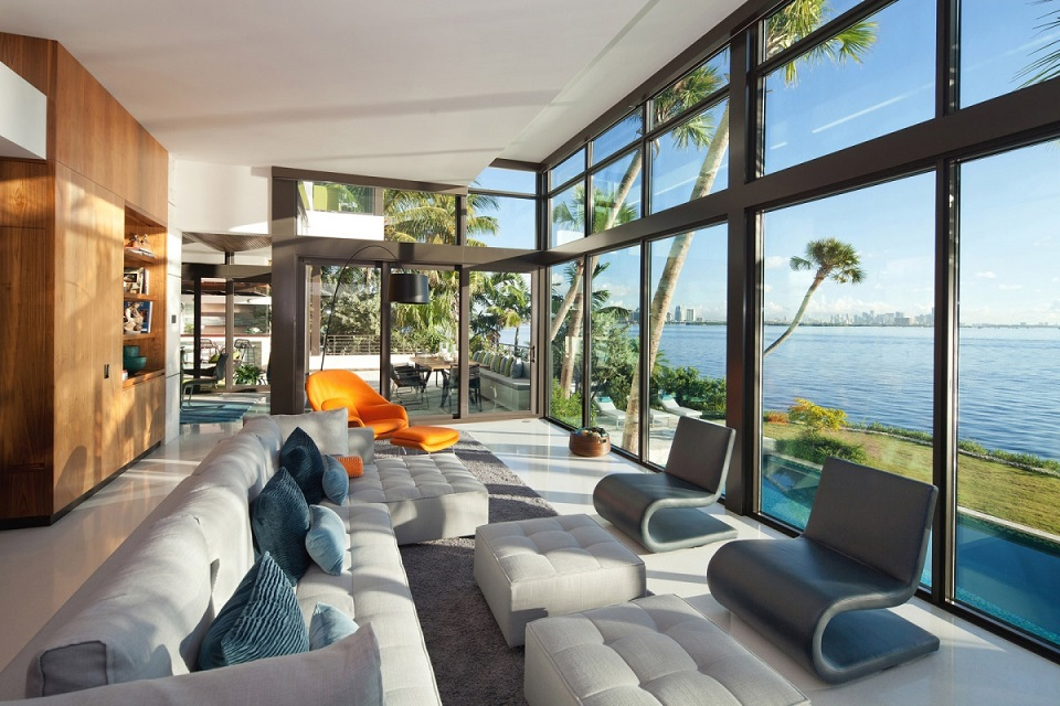 Download Living Room Design Glass Walls Waterfront Home Image ...