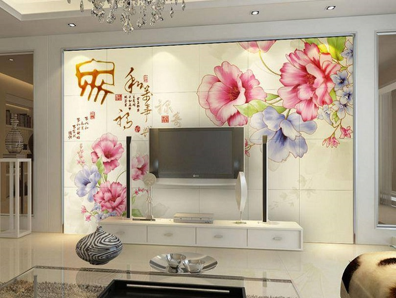 Download Modern LCD Cabinet And Stunning Wallpaper Design Image