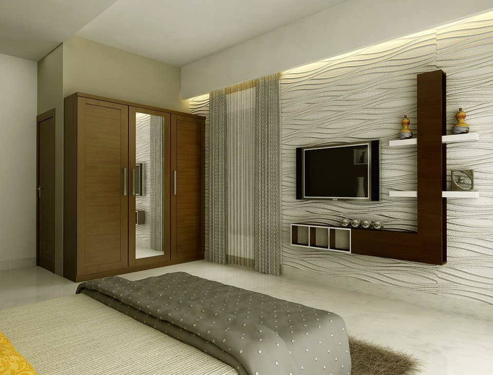Modern Lcd Cabinet And Wardrobe Design For Bedroom Id Modern - Bedroom wardrobe designs with tv unit