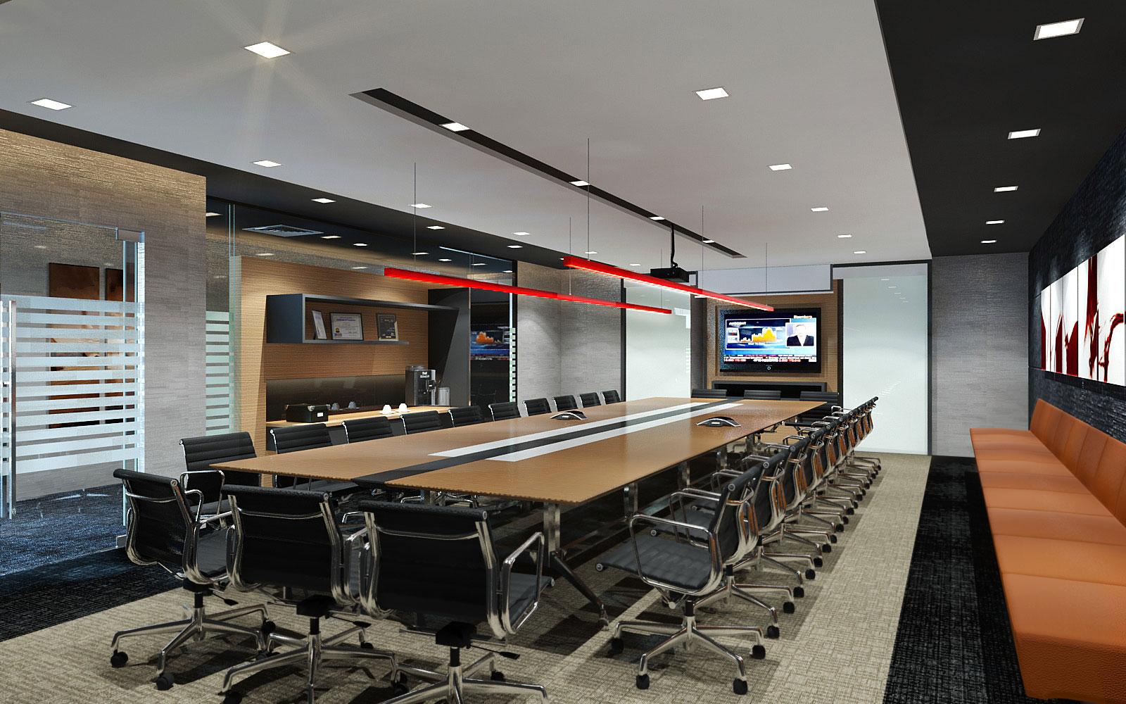 Decorated Wall Boardroom Conference Table Design Id651 Boardroom