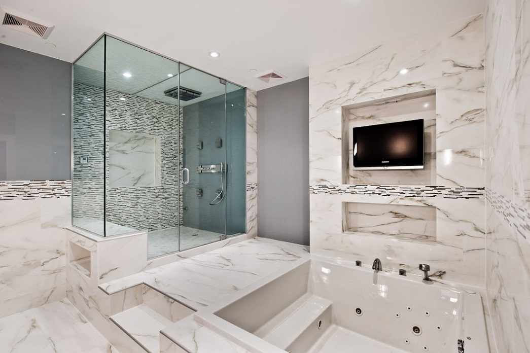 Modern Marble Bathroom With Led Tv Design Id400 Modern Marble Bathroom Design Bathroom Designs Interior Design