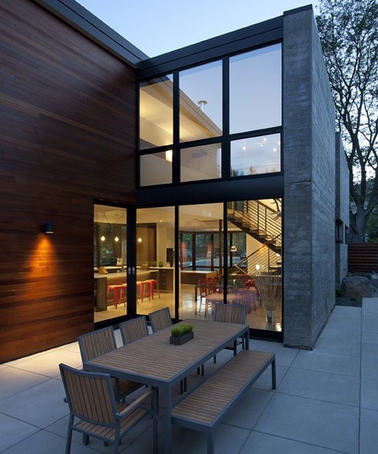 outside open dining glass walls dihedral house colorado usa id939