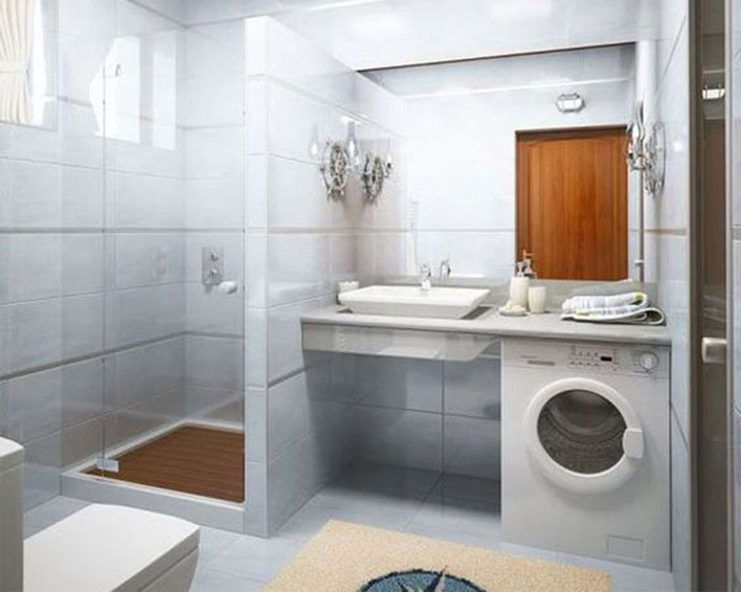 Simple Bathroom Design Idea With Washing Machine Id Small - Examples of bathroom designs