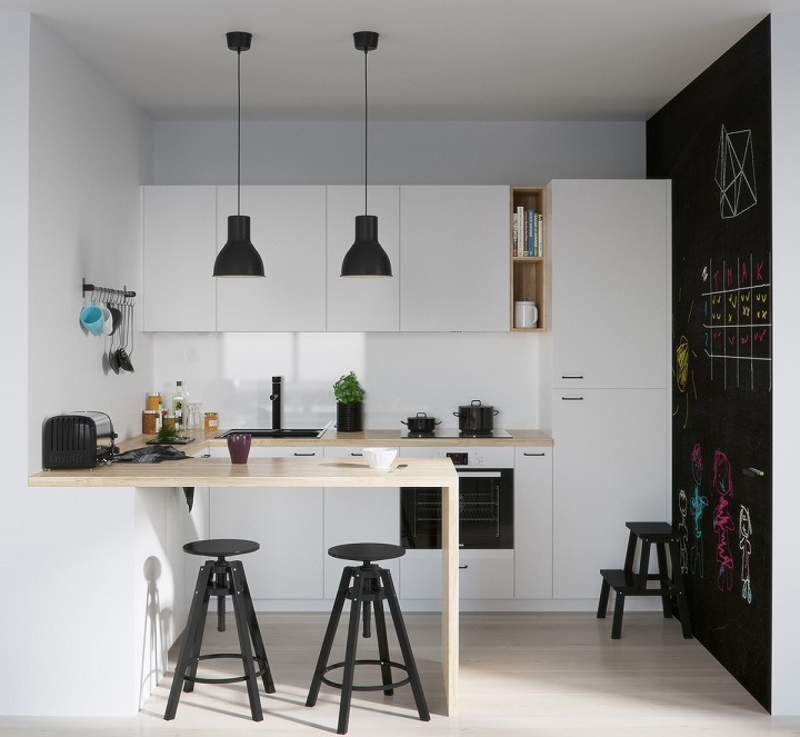 Simple Kitchen With Black Dome Lighting Id111 Scandinavian Kitchen And Design Ideas Kitchen Designs Interior Design