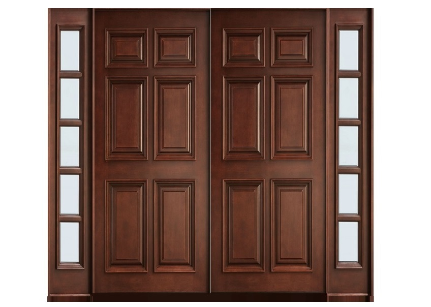 Six panel main double door design pid008 main doors for Entry double door designs