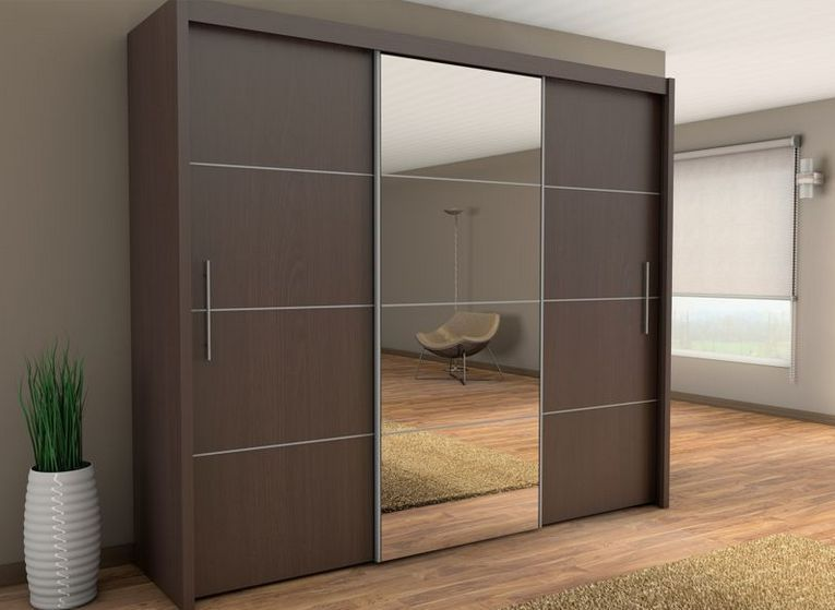 Sliding three door wardrobe with center glass id565 - Bedroom cabinets with sliding doors ...