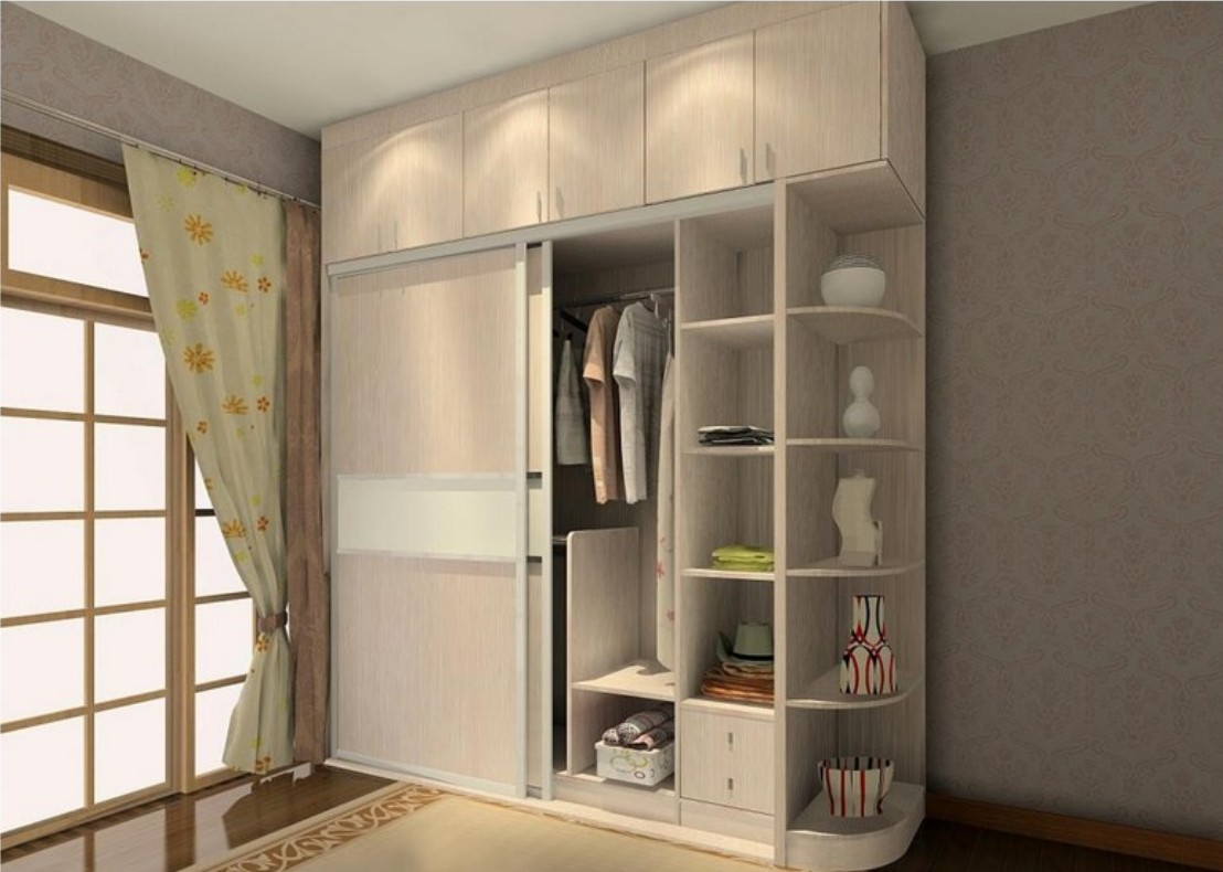 Genial Sliding Two Door Wardrobe Design With Side Corners Storage Shelves