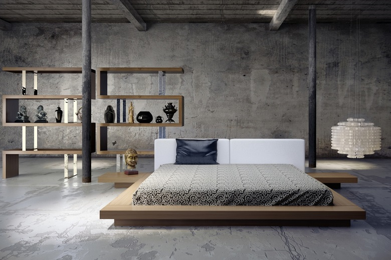 Download Stylish Bedroom Concrete Wall Image ...