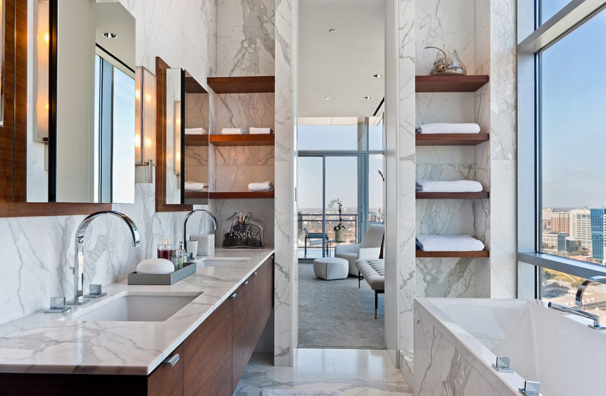 Wooden Shelves Vanity And Bathtub Bathroom Design Id398 - Modern ...